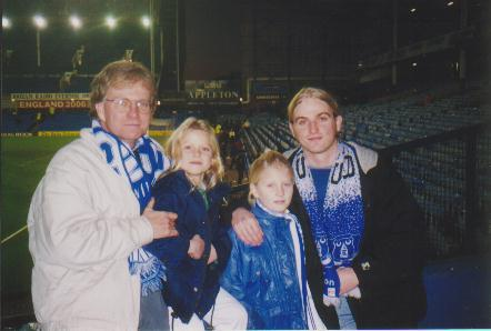 Dad, Rachel, Sarah and me at Goodison after the Leicester match in January 99